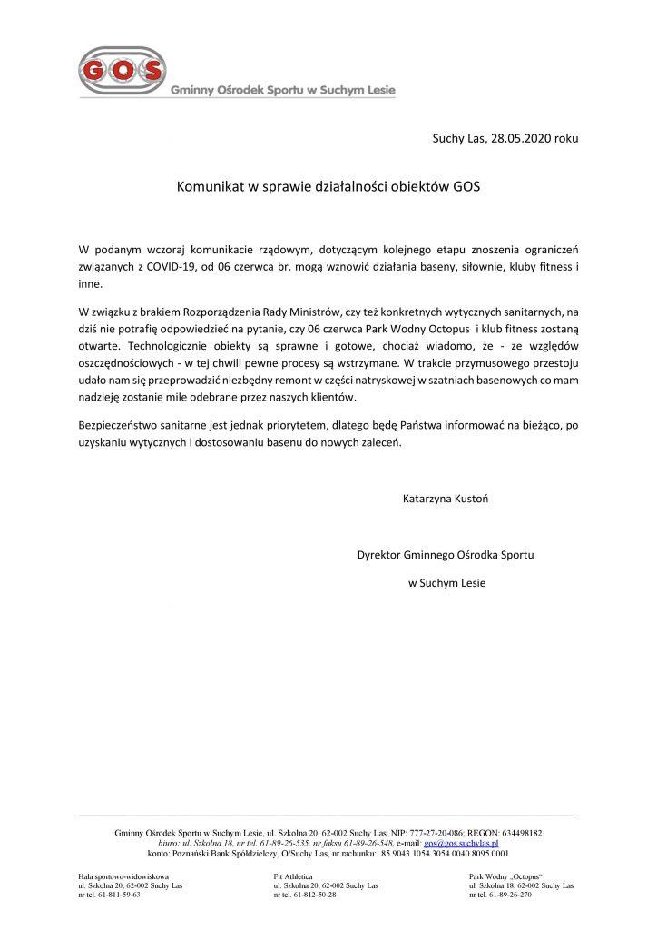 Komunikat ws. działalności obiektów GOS 28.05.2020